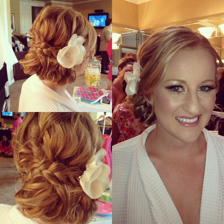 Braid Bun Bride Curls Messy Updo Side Hair Wedding Throughout 2019 Blinged Out Bun Updo Hairstyles (View 9 of 20)