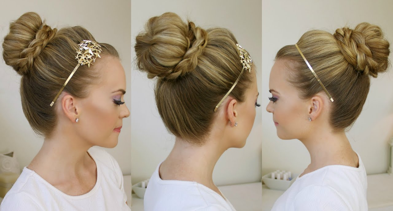 Braid Wrapped High Bun Intended For Trendy High Bun Hairstyles With Braid (View 15 of 20)