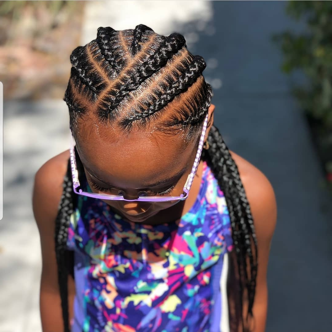 Braided Hairstyles For Kids: 43 Hairstyles For Black Girls Regarding 2020 Metallic Side Cornrows Braided Hairstyles (View 10 of 20)