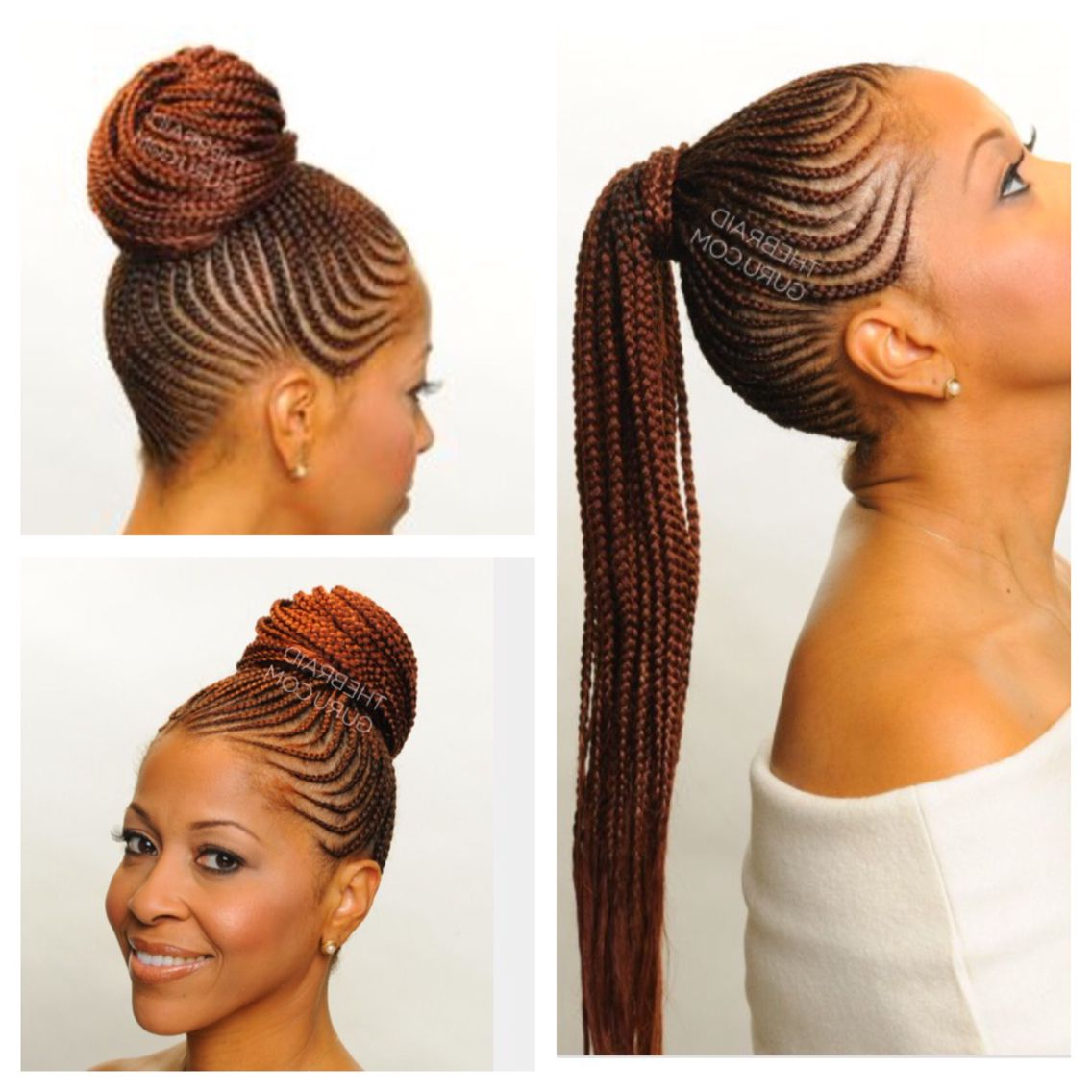 Braided Hairstyles Pertaining To Most Recent Cornrow Braided Bun Hairstyles (View 3 of 20)