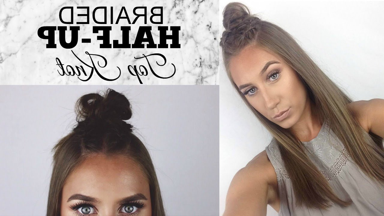 Braided Half Up Top Knot│Hair Tutorial Inside Most Current Braided Topknot Hairstyles With Beads (View 4 of 20)