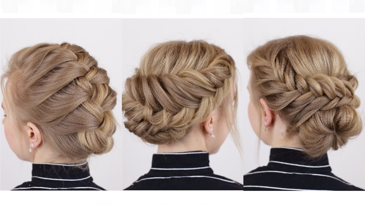 Braided Updos For Short Hair Pertaining To Fashionable Brown Woven Updo Braid Hairstyles (View 16 of 20)