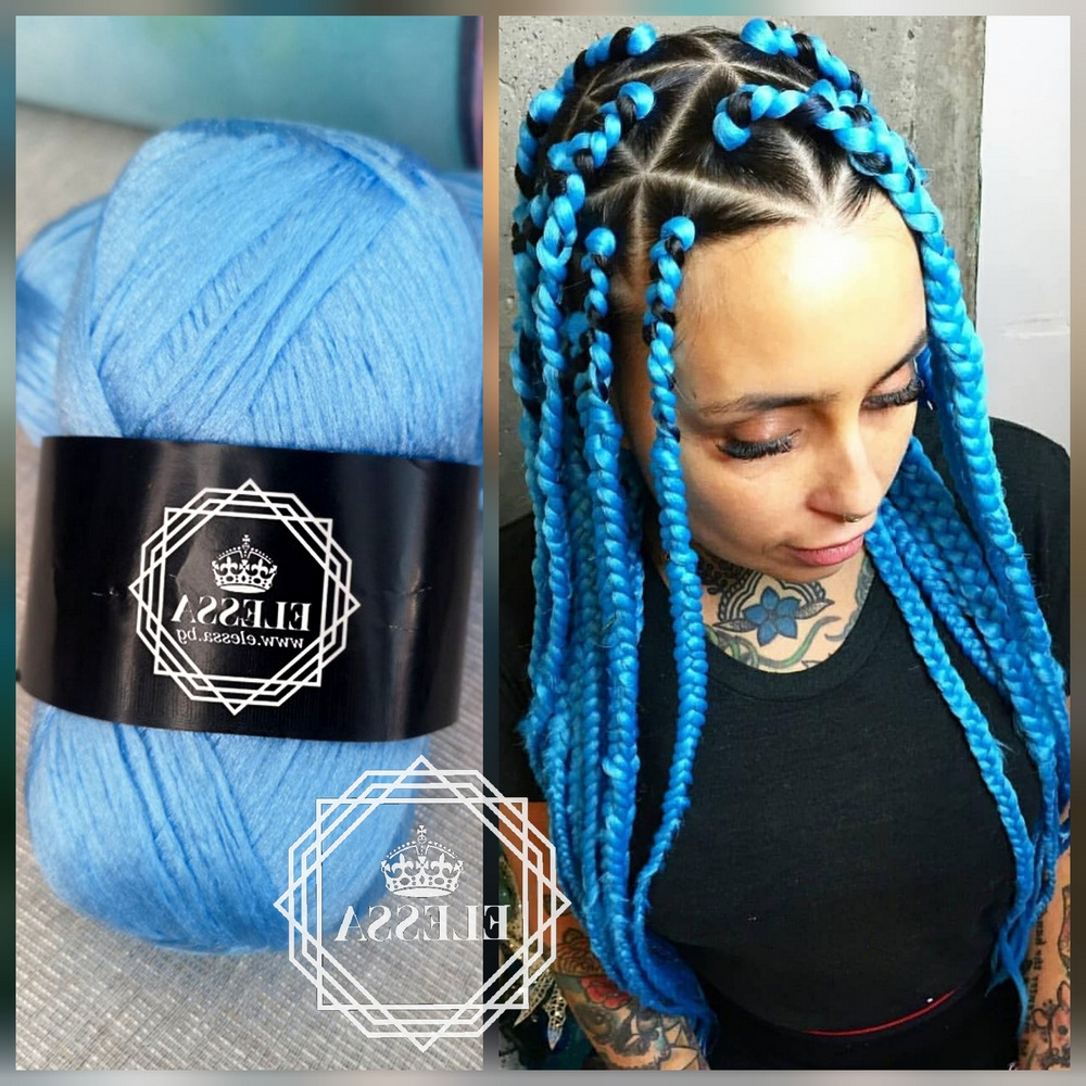 Brazilian Yarn For Braids High Quality Acrylic Wool For Hair Inside Popular Long Braids With Blue And Pink Yarn (View 18 of 20)