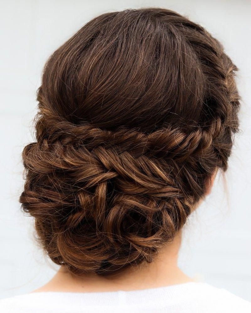Bridal Or Prom Fishtail Braid Updo On Brown Hair Throughout Recent Brown Woven Updo Braid Hairstyles (View 13 of 20)