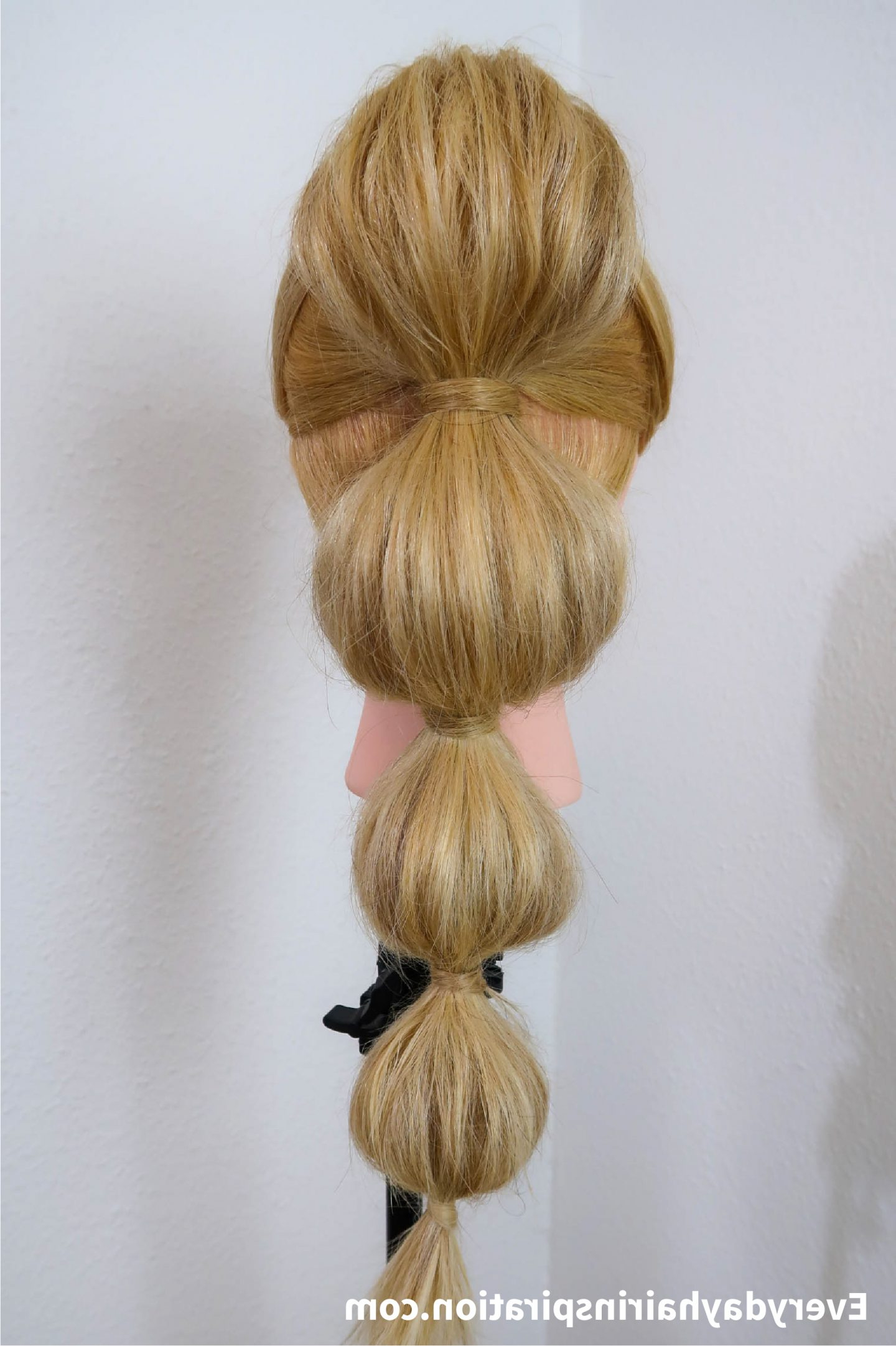 Bubble Ponytail Stepstep – Everyday Hair Inspiration For Most Up To Date Bubble Pony Updo Hairstyles (View 8 of 20)