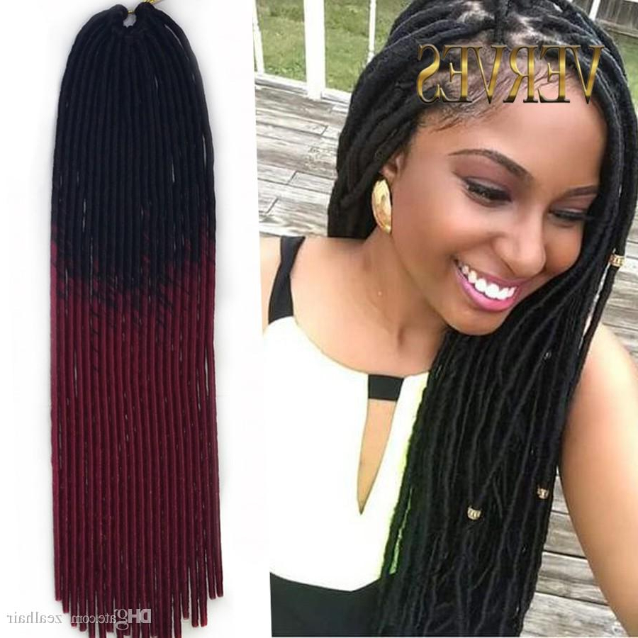 Burgundy Mambo Fauxlocs Braid Hairs 20roots/pcs Two Tone Ombre Braiding Hair Synthetic Havana Mambo Twist Braids Hair Extensions For Most Popular Two Tone Twists Hairstyles With Beads (View 15 of 20)
