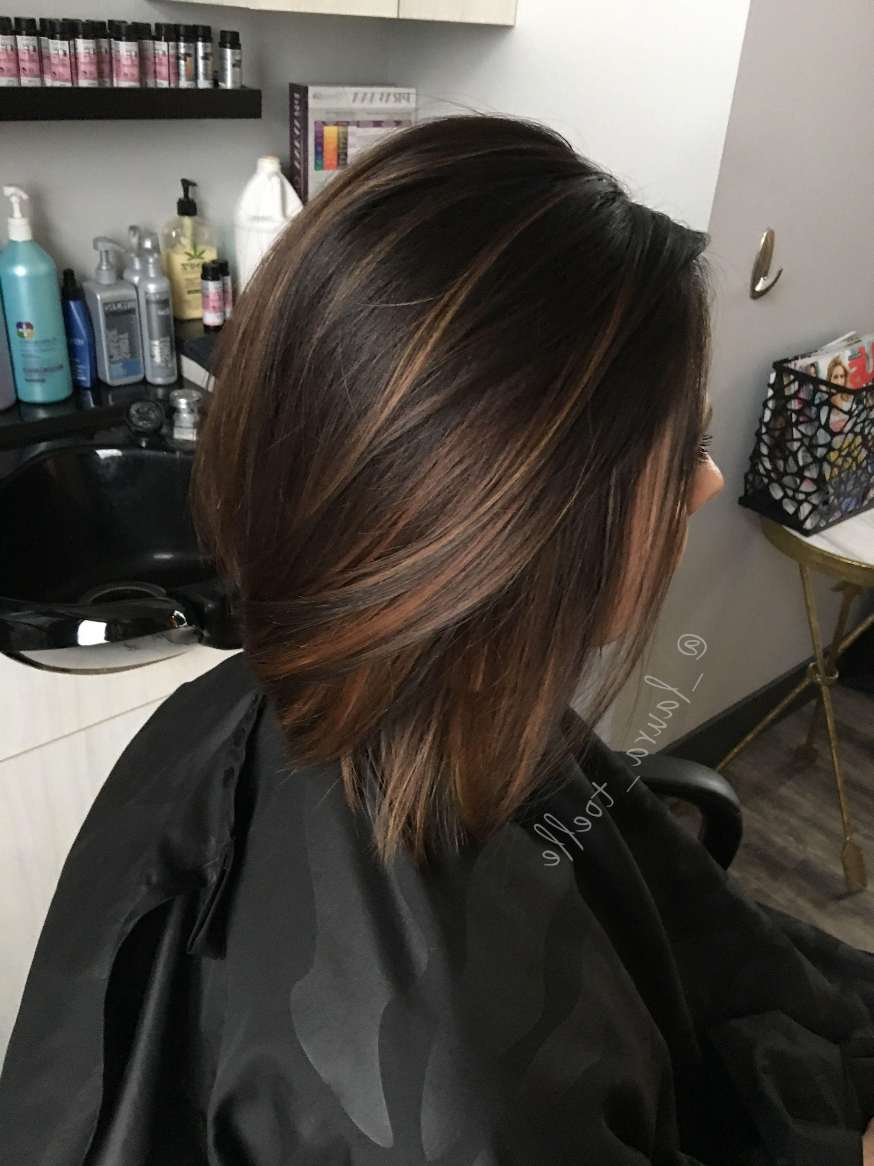 Caramel Highlights. Dark Brown Hair (View 7 of 20)