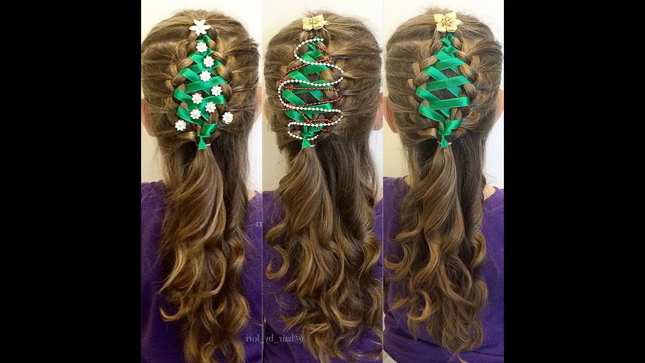Corset Ribbon Braided Christmas Tree – Hairstyle Tutorial For Newest Corset Braided Hairstyles (View 19 of 20)