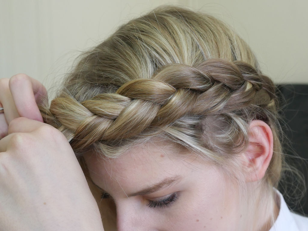 Crown Braid: 8 Steps (With Pictures) With Most Up To Date Forward Braided Hairstyles With Hair Wrap (View 7 of 20)