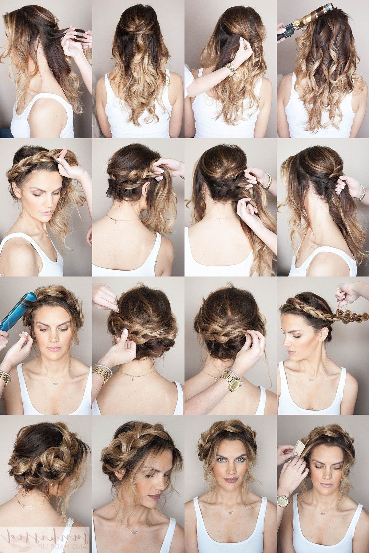 Crown Braid Tutorial // Braided Crown How To // Halo Braid Throughout Current Halo Braided Hairstyles With Bangs (View 5 of 20)