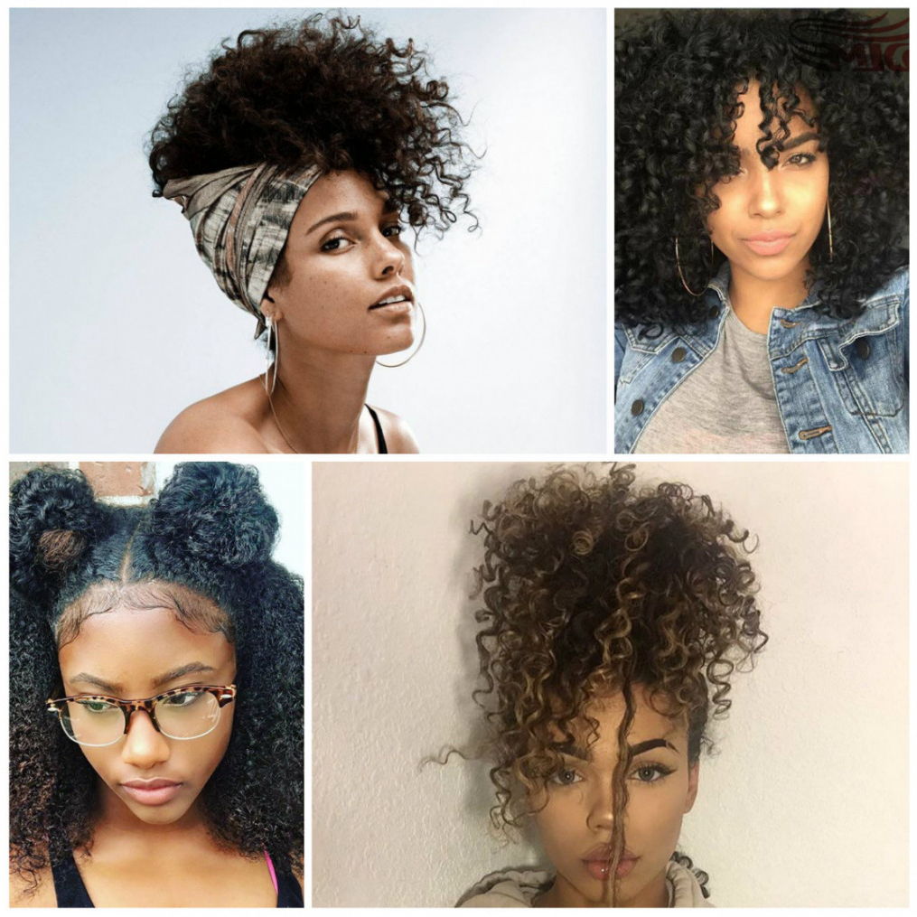 Curly Hairstyle : Natural Curly Hairstyles With Bangs Black Pertaining To Most Popular Natural Bangs Updo Hairstyles (View 17 of 20)