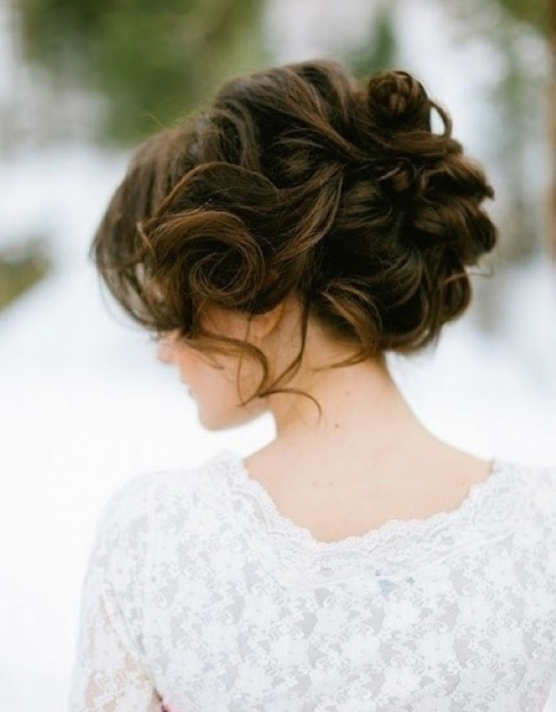 Curly Hairstyle : Short Curly Hair Updos For Wedding Updo In Favorite Curled Updo Hairstyles (View 13 of 20)