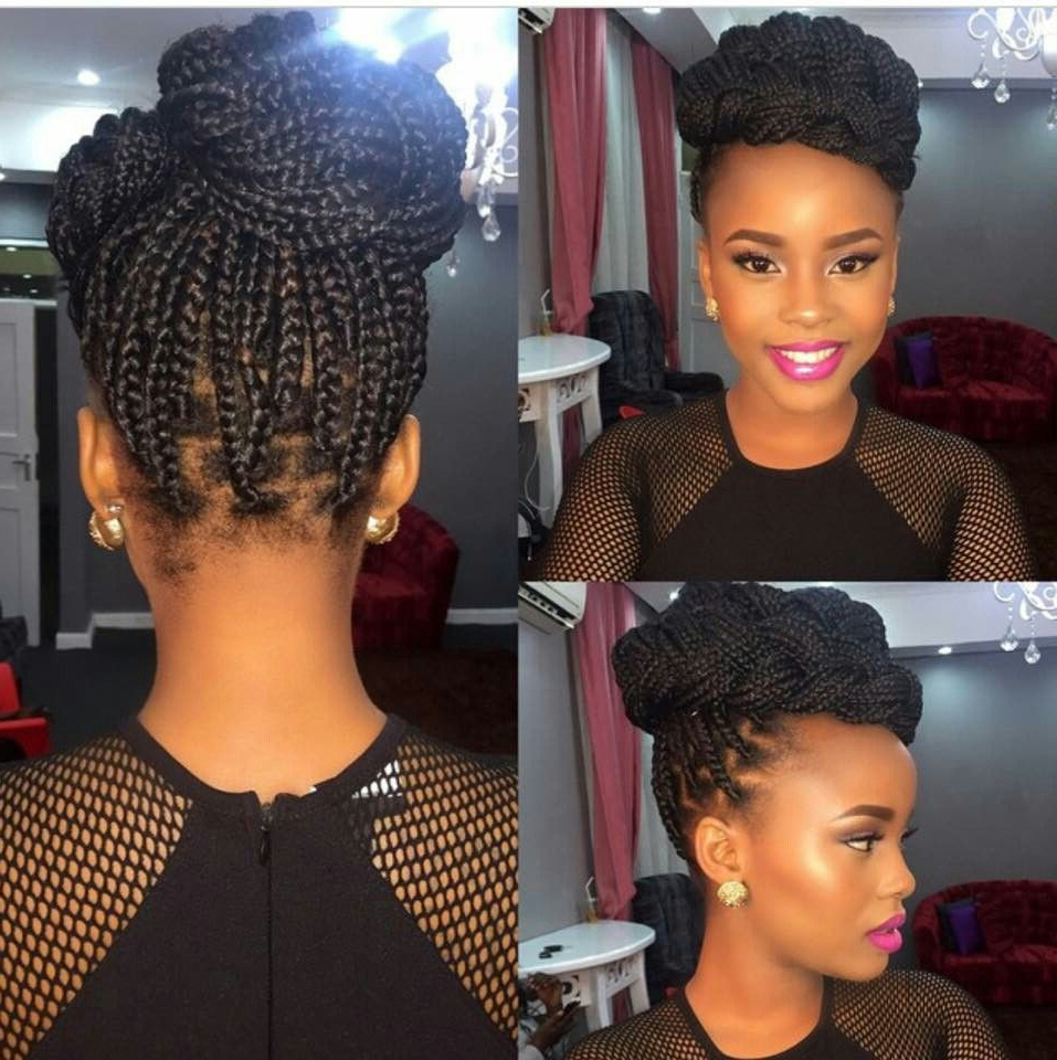 Current Box Braids Bun Hairstyles Within Single Braid Updo Style#perfect 4 Any Formal Occasion (View 8 of 20)