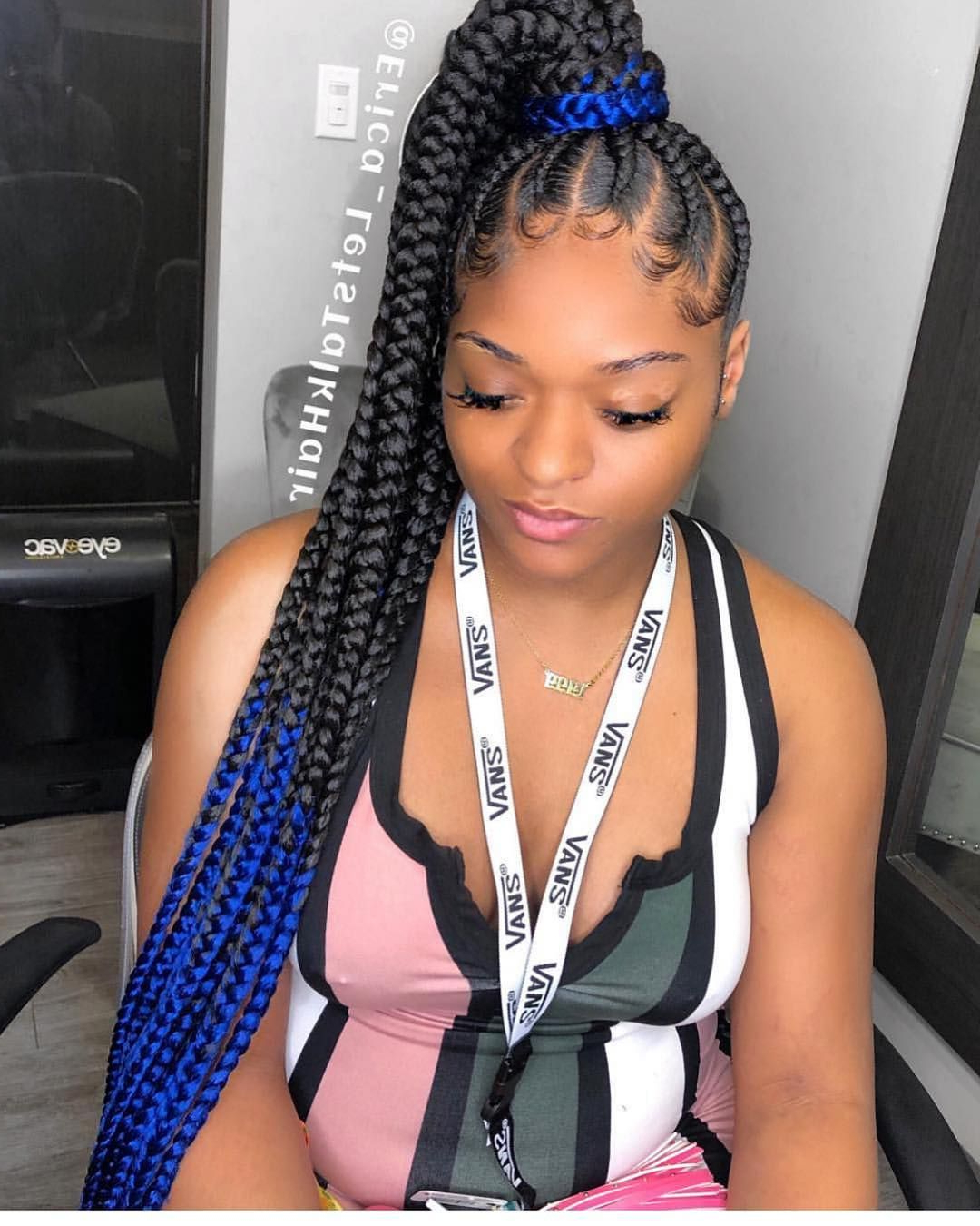 Featured Photo of Cornrow Ombre Ponytail Micro Braid Hairstyles