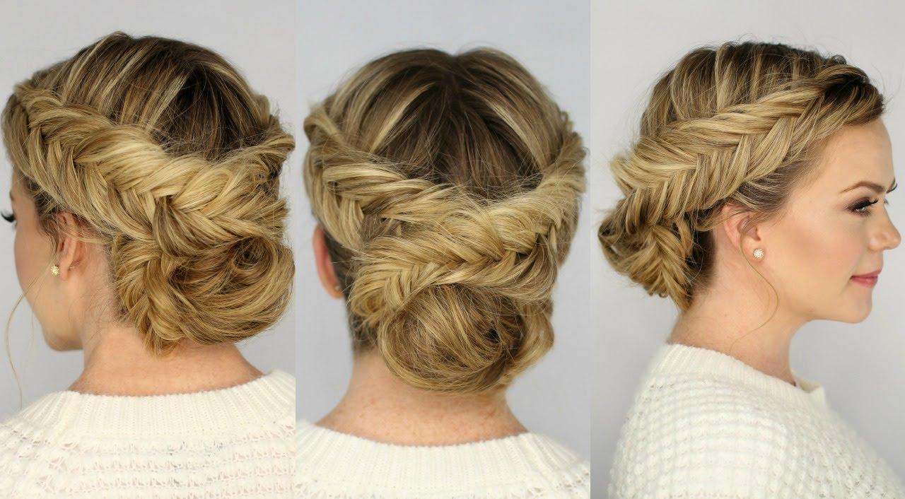 Current Dutch Braid Bun Hairstyles Within Double Dutch Fishtail Braid Updo (View 3 of 20)