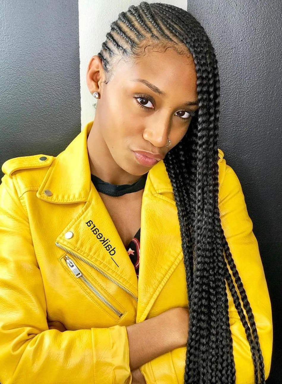 Current Full Scalp Patterned Side Braided Hairstyles Throughout 25 Charming Lemonade Braids To Rock Your Appearance (View 11 of 20)