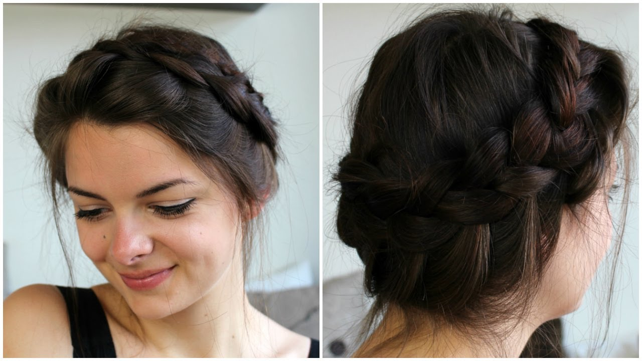 Current Messy Crown Braid Updo Hairstyles For Messy Crown Braid (View 2 of 20)