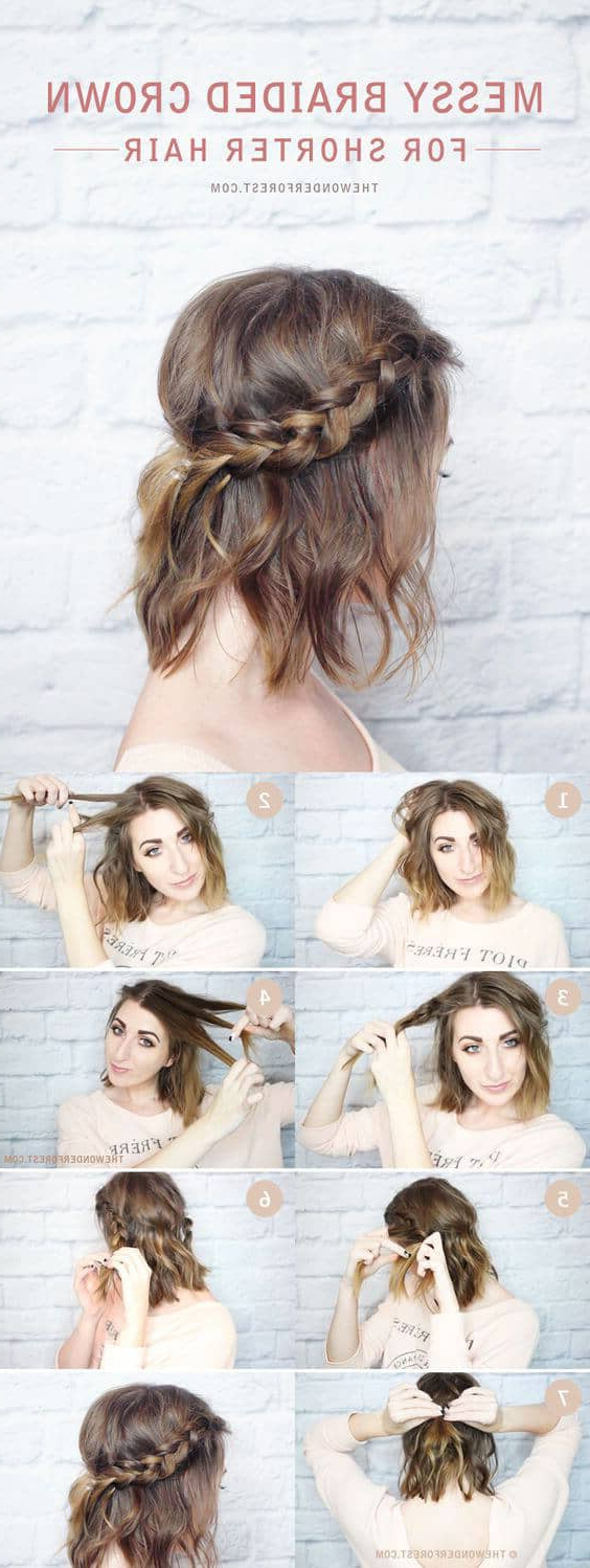 Current Messy Crown Braided Hairstyles Inside 27 Beautiful And Fresh Braid Hairstyle Ideas For Short Hair (View 17 of 20)