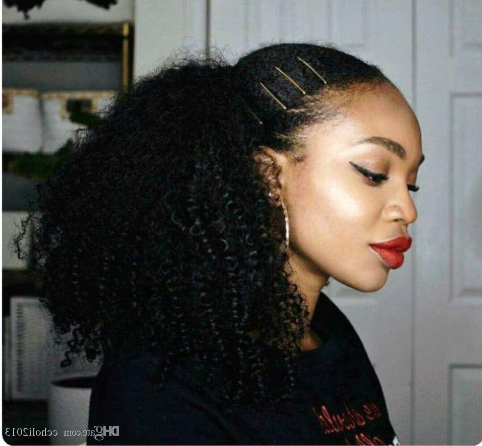 Current Natural High Ponytail Updo Hairstyles With 2019 New Afro Kinky Curly Ponytail Hairstyle 100 Human Hair (View 14 of 20)