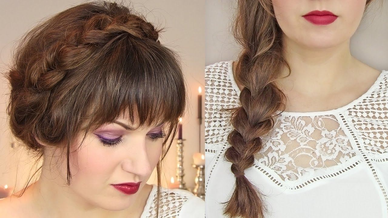 Cute Hairstyles For Thin Hair: Thick Braid & Milkmaid Updo Intended For Preferred Thick And Thin Braided Hairstyles (View 13 of 20)