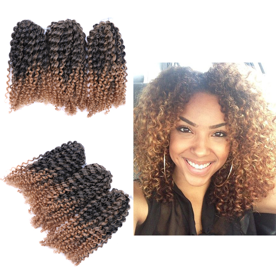 Dairess 8 Inches (3 Bundles/pack) Marlybob Crochet Braiding Hair Ombre Jerry Curl Mali Bob Afro Kinky Curly Crochet Braiding Hair Extensions Intended For Well Known Wavy Bob Hairstyles With Twists (View 16 of 20)