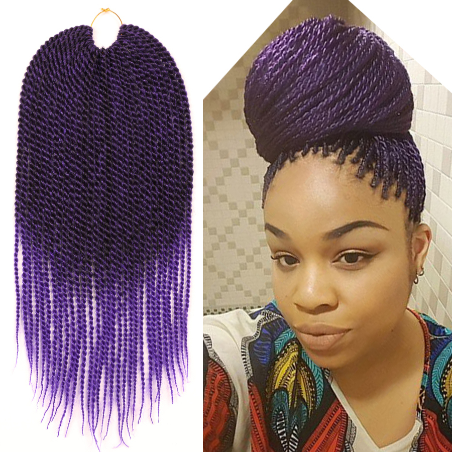 Details About Ombre Purple Crochet Twist Braid Hair Extension Two Tone Kanekalon Braiding Hair With Regard To Latest Two Tone Twists Hairstyles With Beads (View 7 of 20)
