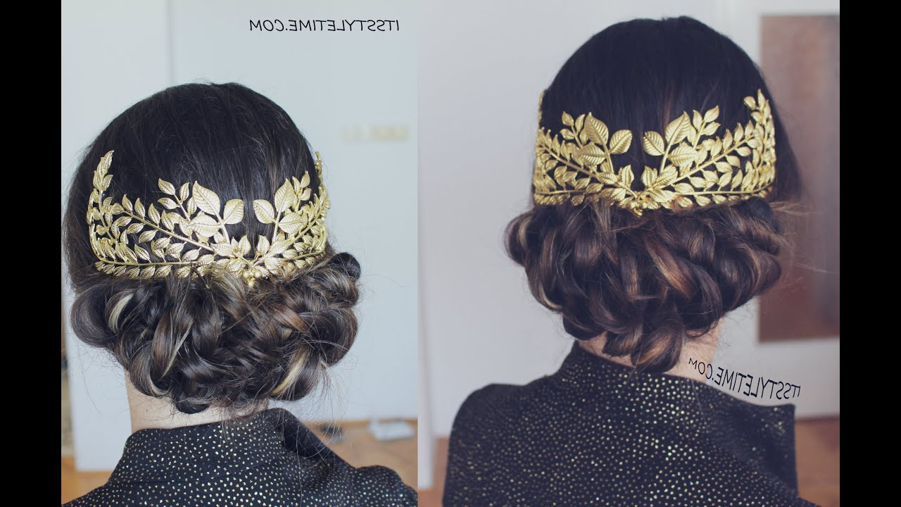 Diy Low Bun Updo With Vintage Headpiece! With Regard To Newest Vintage Inspired Braided Updo Hairstyles (Gallery 16 of 20)