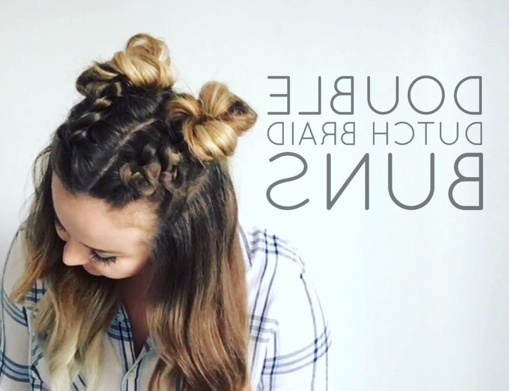 Double Dutch Braid Buns Half Up Hairstyle – Cassie Scroggins With Most Recent Braids And Buns Hairstyles (Gallery 20 of 20)