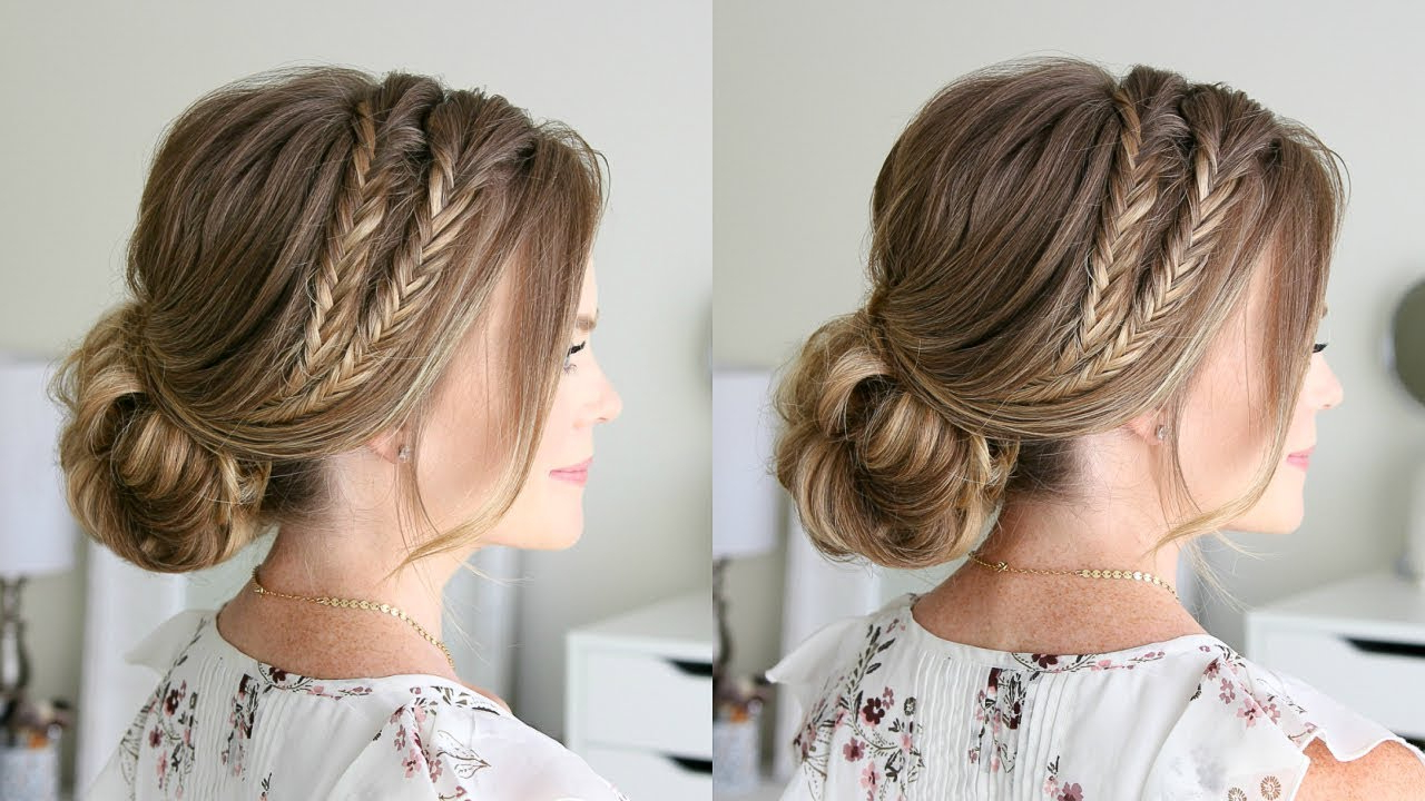 Double Fishtail Braid Low Bun (Gallery 8 of 20)