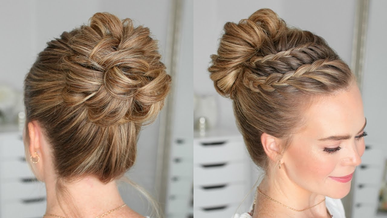 Double Lace Braid High Bun (Gallery 13 of 20)