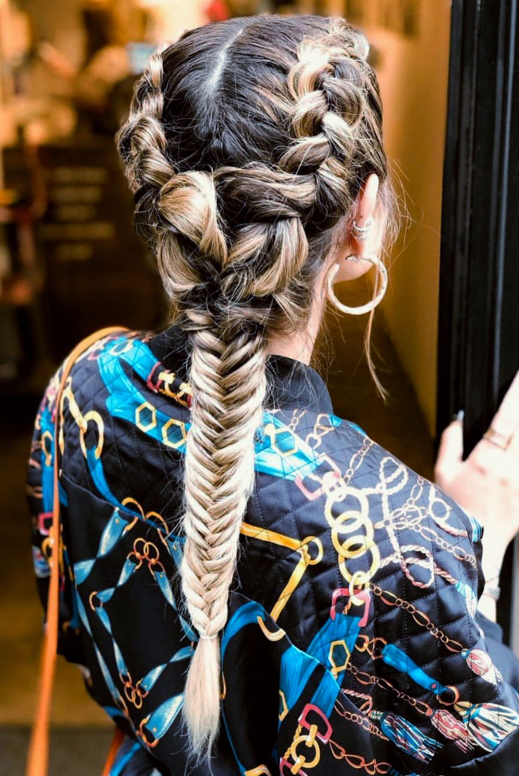 Double Sided French Braid And Fishtail Braid Hair Style For Current Thick Two Side Fishtails Braid Hairstyles (Gallery 4 of 20)