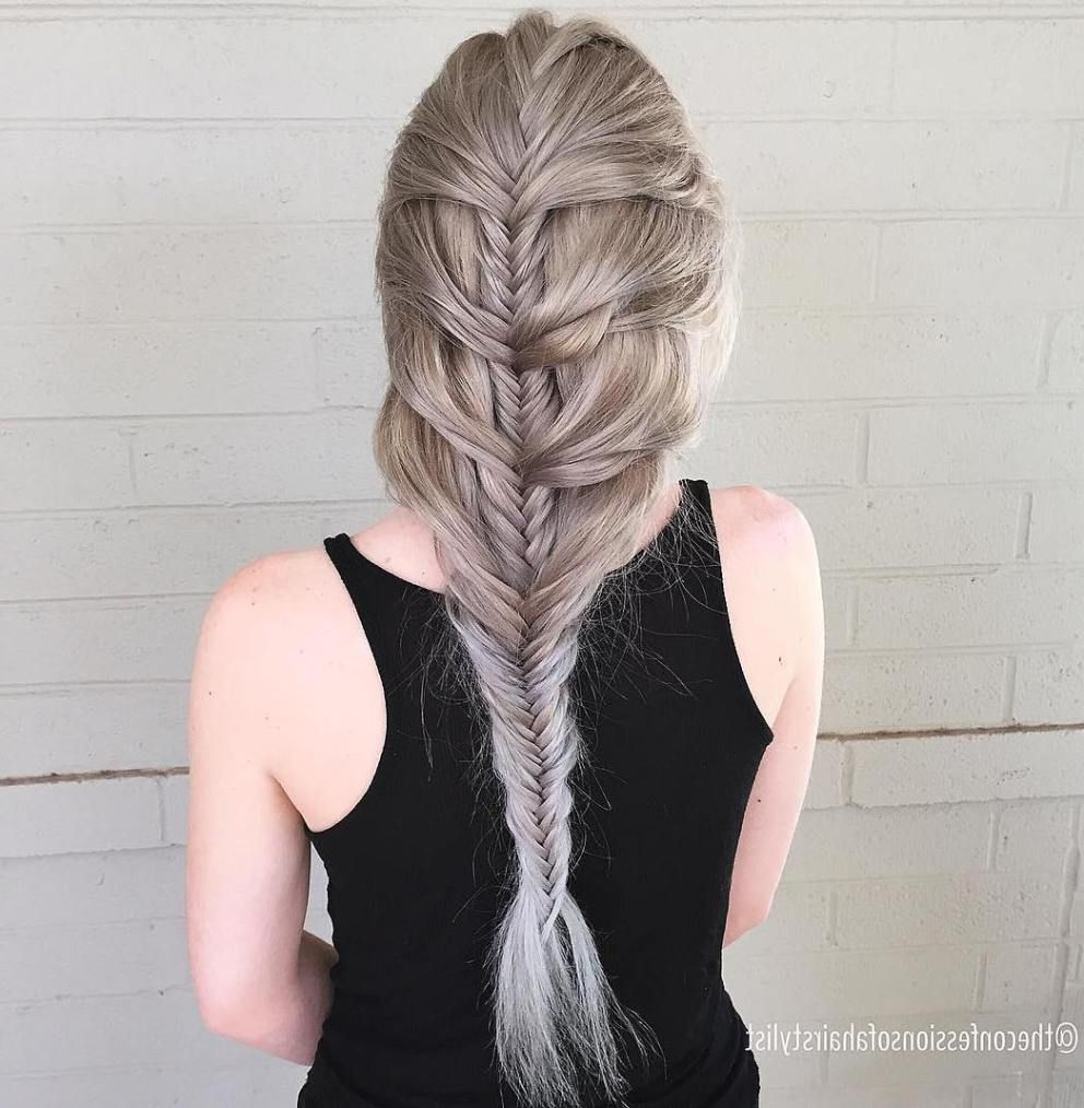 Dyed Hair Intended For Most Popular Elegant Blonde Mermaid Braid Hairstyles (View 9 of 20)