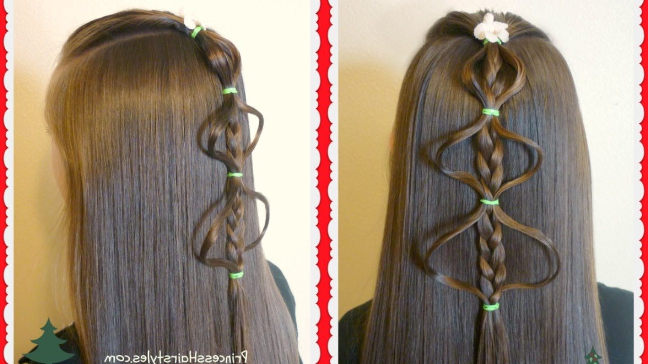 Easy Bubble Braid Christmas Tree Hairstyle Tutorial With Regard To Most Popular Bubble Braid Updo Hairstyles (View 9 of 20)