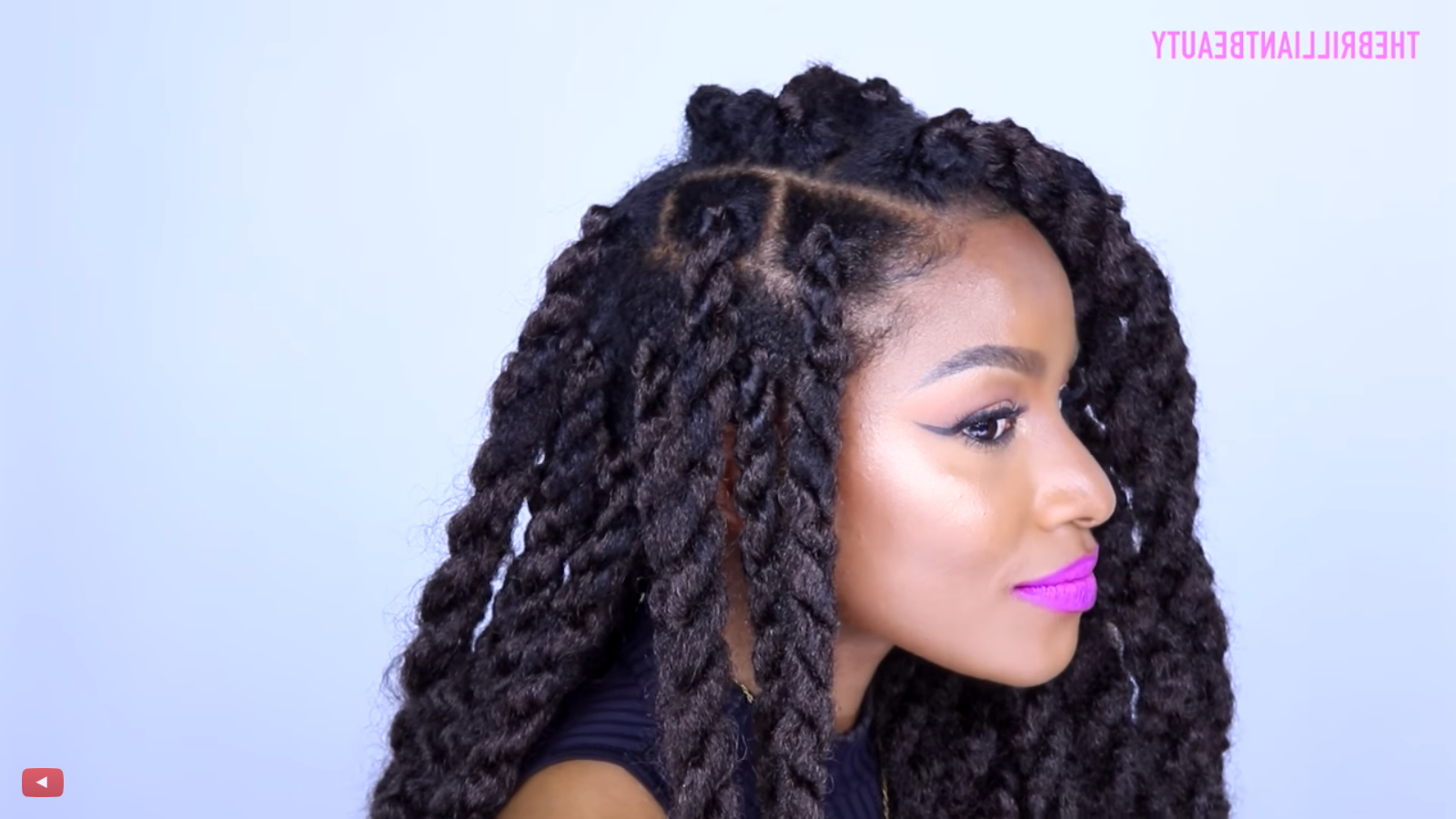 Easy Havana Twist Tutorial For Any Natural Hair Types In Most Popular Long Twists Invisible Braids With Highlights (View 6 of 20)