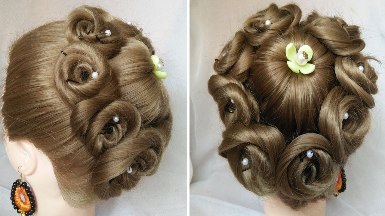 Easy Wedding Hairstyles Regarding Popular Floral Bun Updo Hairstyles (Gallery 8 of 20)