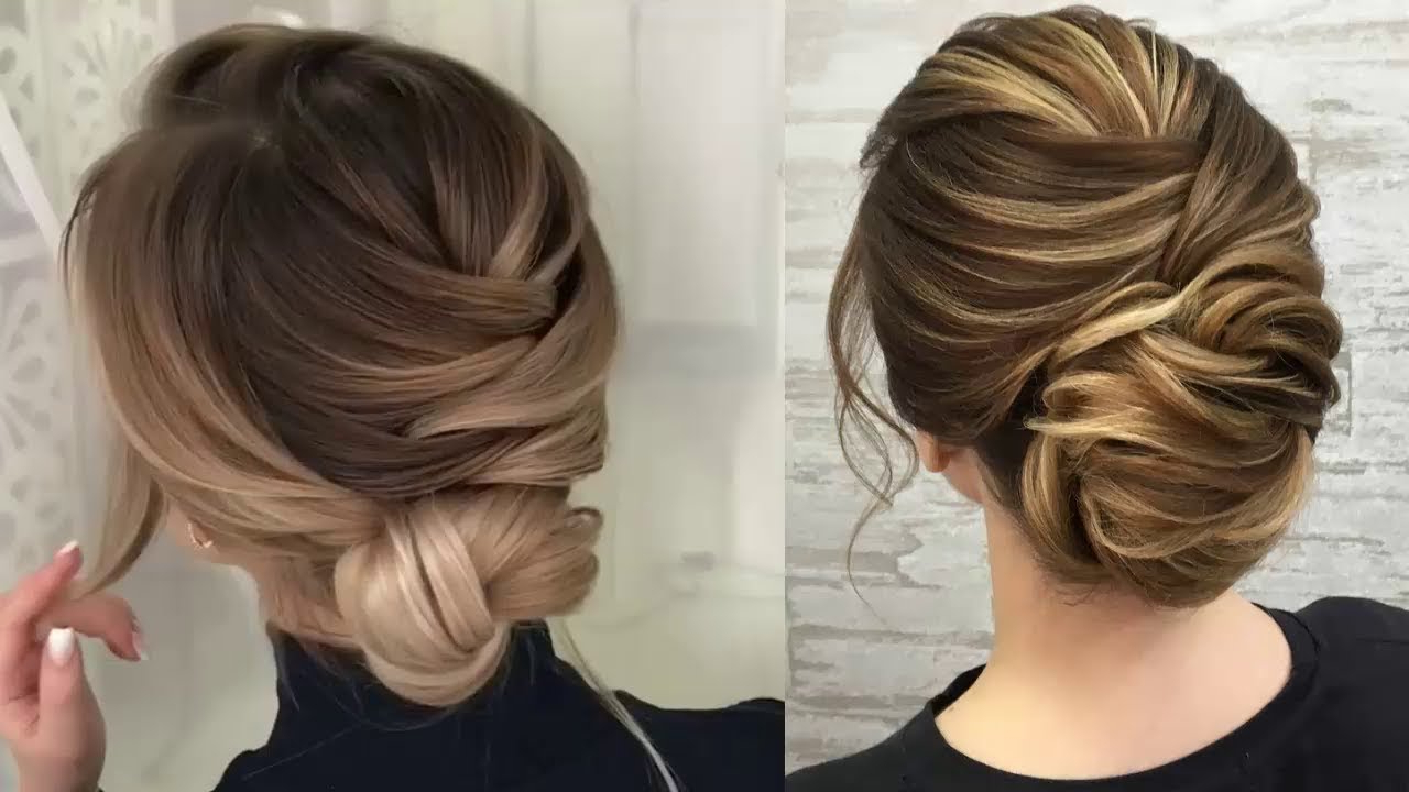 Elegant Low Messy Bun Hair Tutorial Compilation – Easy Updo Hairstyles For  Medium Long Hair In Well Known Messy Bun Hairstyles (View 8 of 20)
