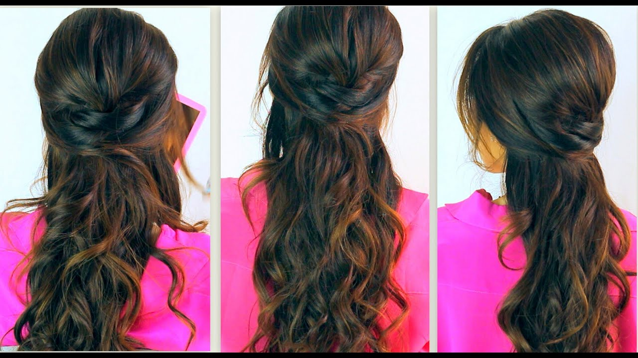 Everyday Prom Curly Half Up Updos For Medium Long Hair Tutorial Throughout Newest Curled Half Up Hairstyles (View 13 of 20)