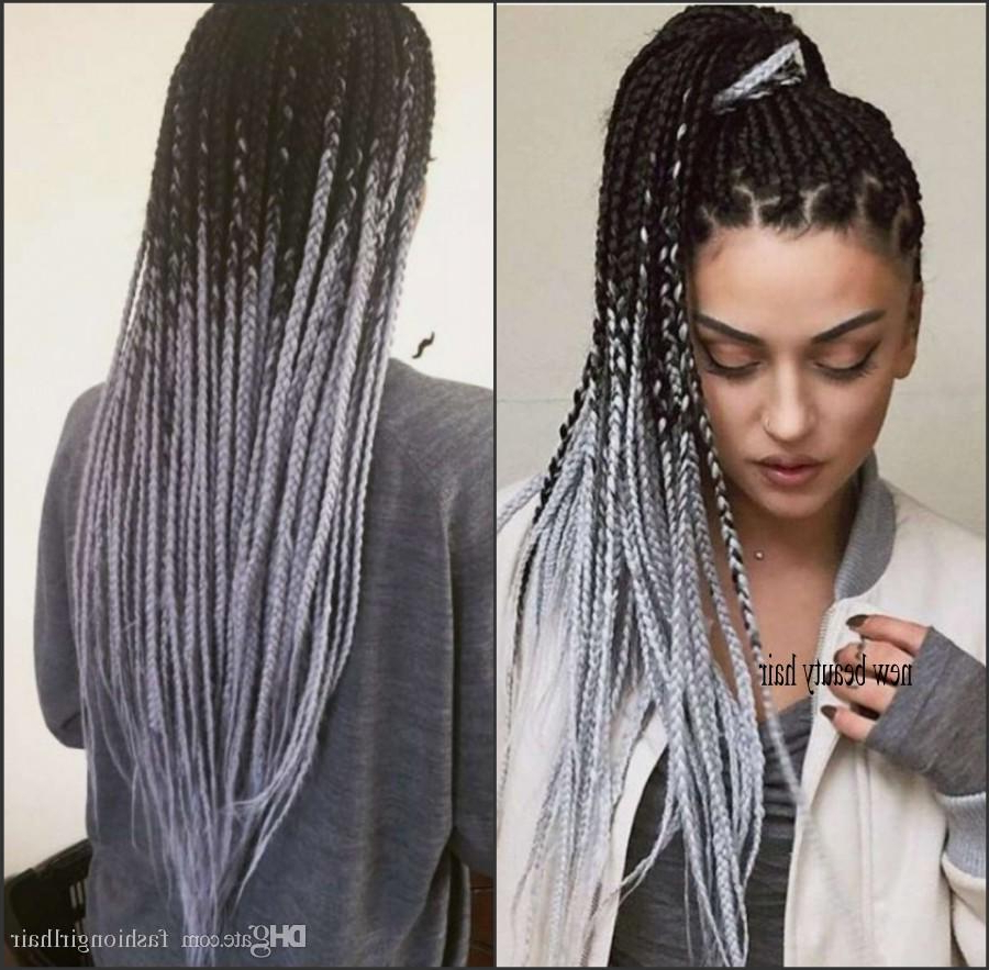 Extra Money Ombre Grey Lace Front Wig Synthetic Hair Box Braids Hairstyle  African American Long Braided Wigs For Black Women Inside Preferred Straight Mini Braids With Ombre (View 9 of 20)