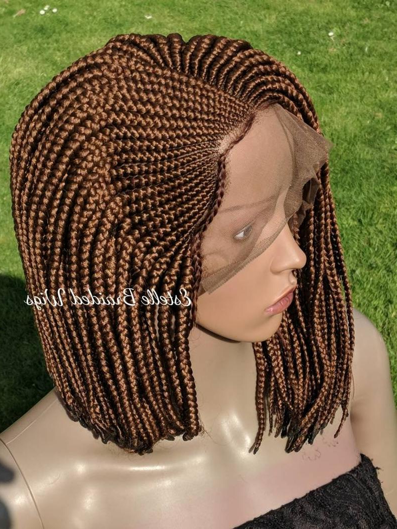 Famous Asymmetrical Bob Braid Hairstyles Throughout Ready To Ship! Braided Wig, Cornrows Styles, Full Frontal Lace Wig, Braids Wig, Short Braided Wig, Lace Front Wig, Braided Lace Wig, Bob! (View 9 of 20)