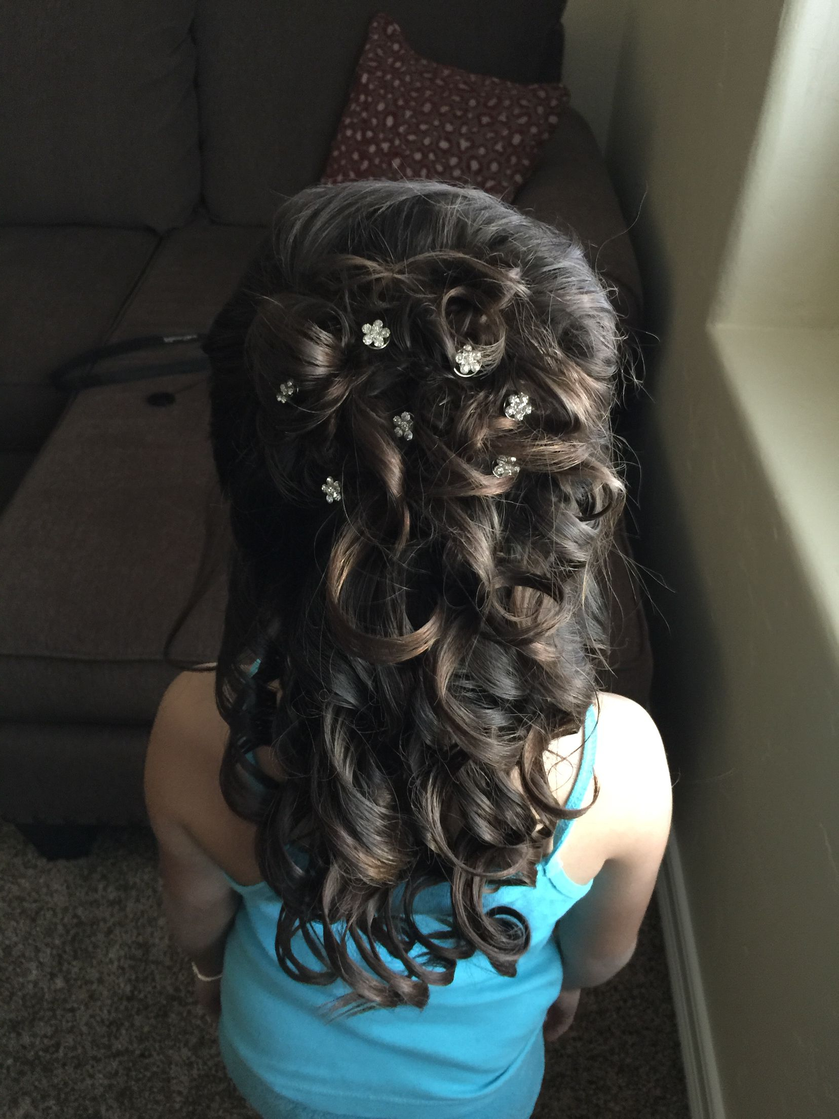 Famous Blinged Out Bun Updo Hairstyles For Formal Hairstyle. Little Girl . Half Up. Curls  (View 10 of 20)