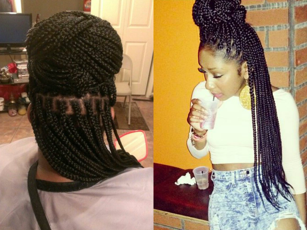Famous Box Braids Bun Hairstyles With Regard To Half Up Half Down Box Braids Bun Hairstyles (View 9 of 20)