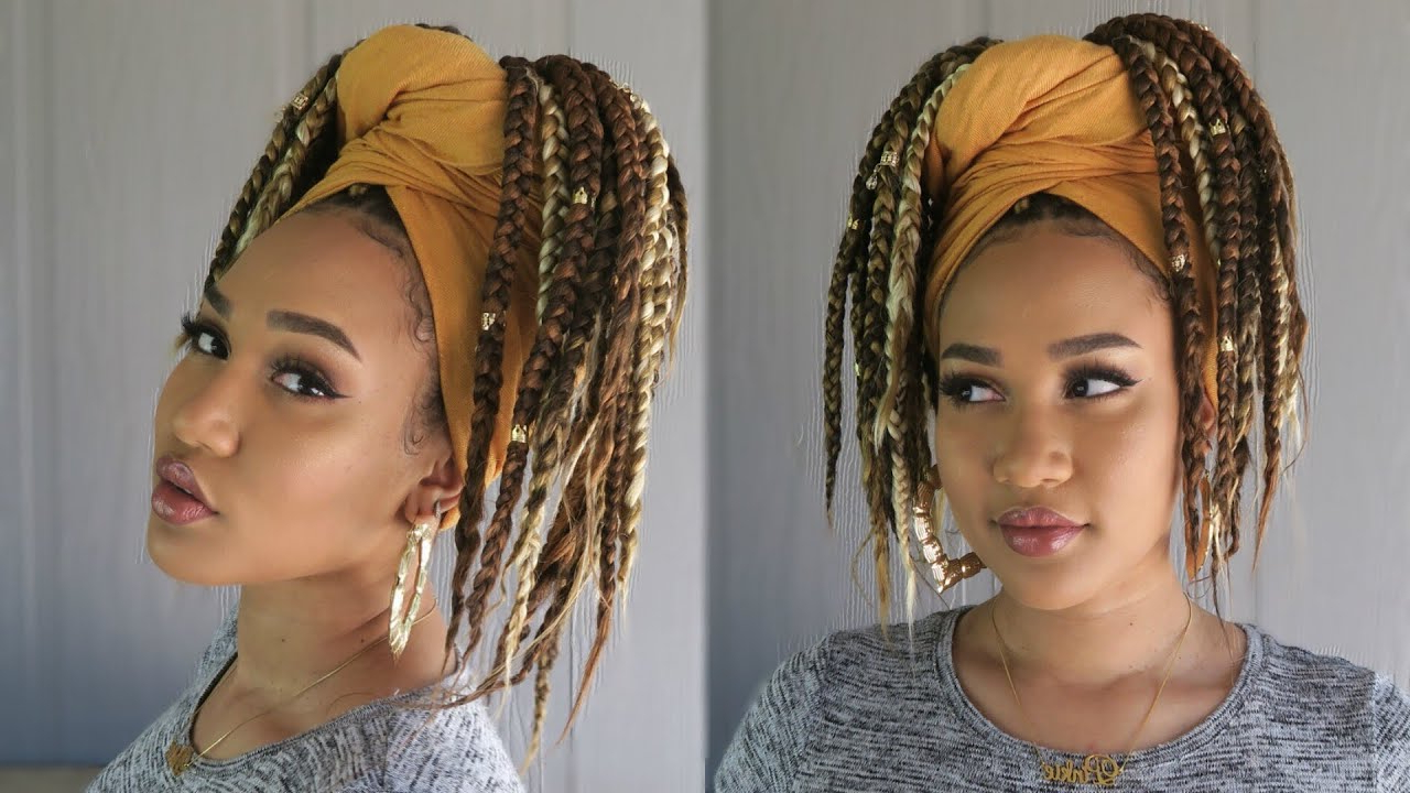 Famous Braided Hairstyles With Beads And Wraps In Fastest Box Braiding Technique + Easy Head Wrap Style (View 6 of 20)