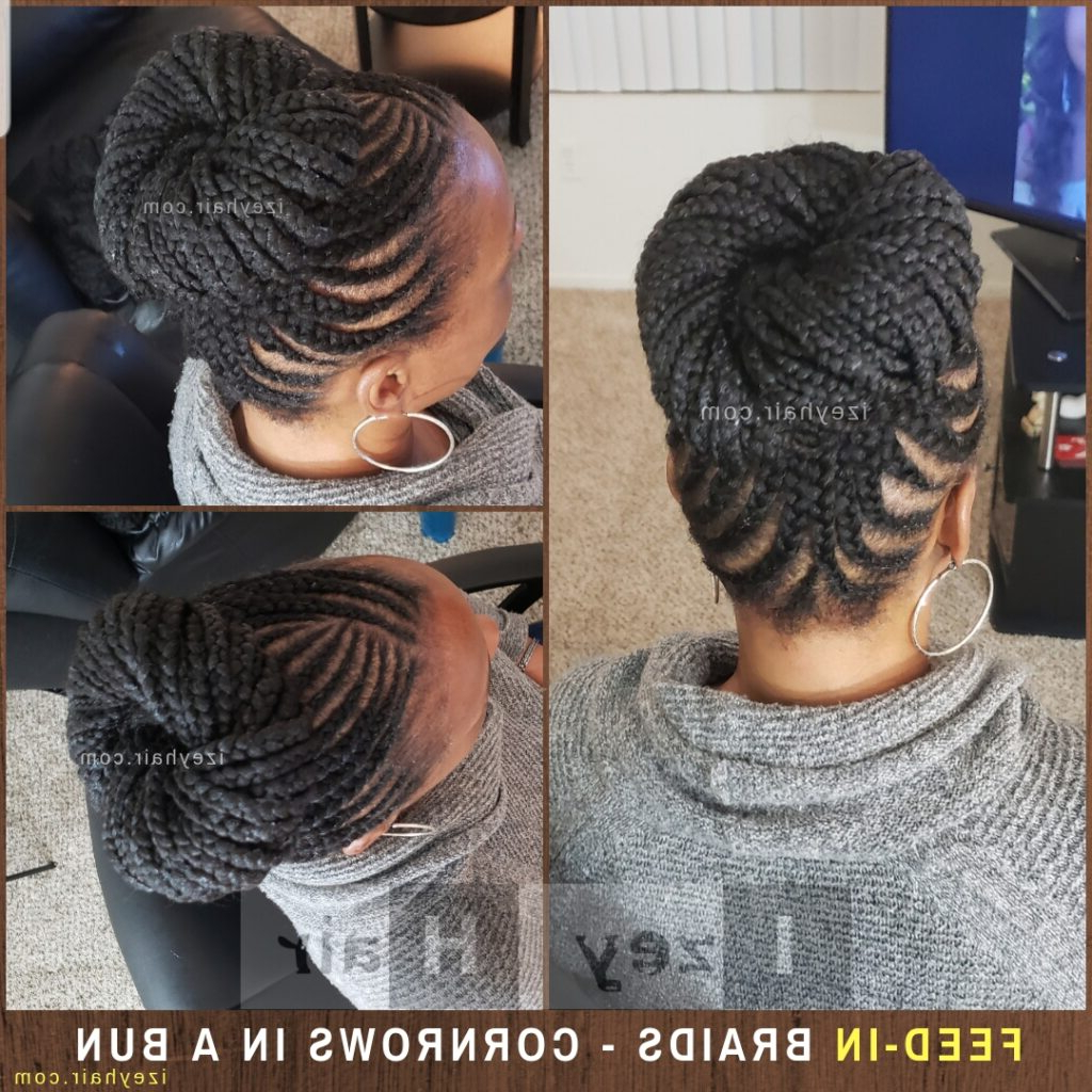 Famous Cornrow Braided Bun Hairstyles For Feed In Braids – Cornrows In A Bun (View 14 of 20)