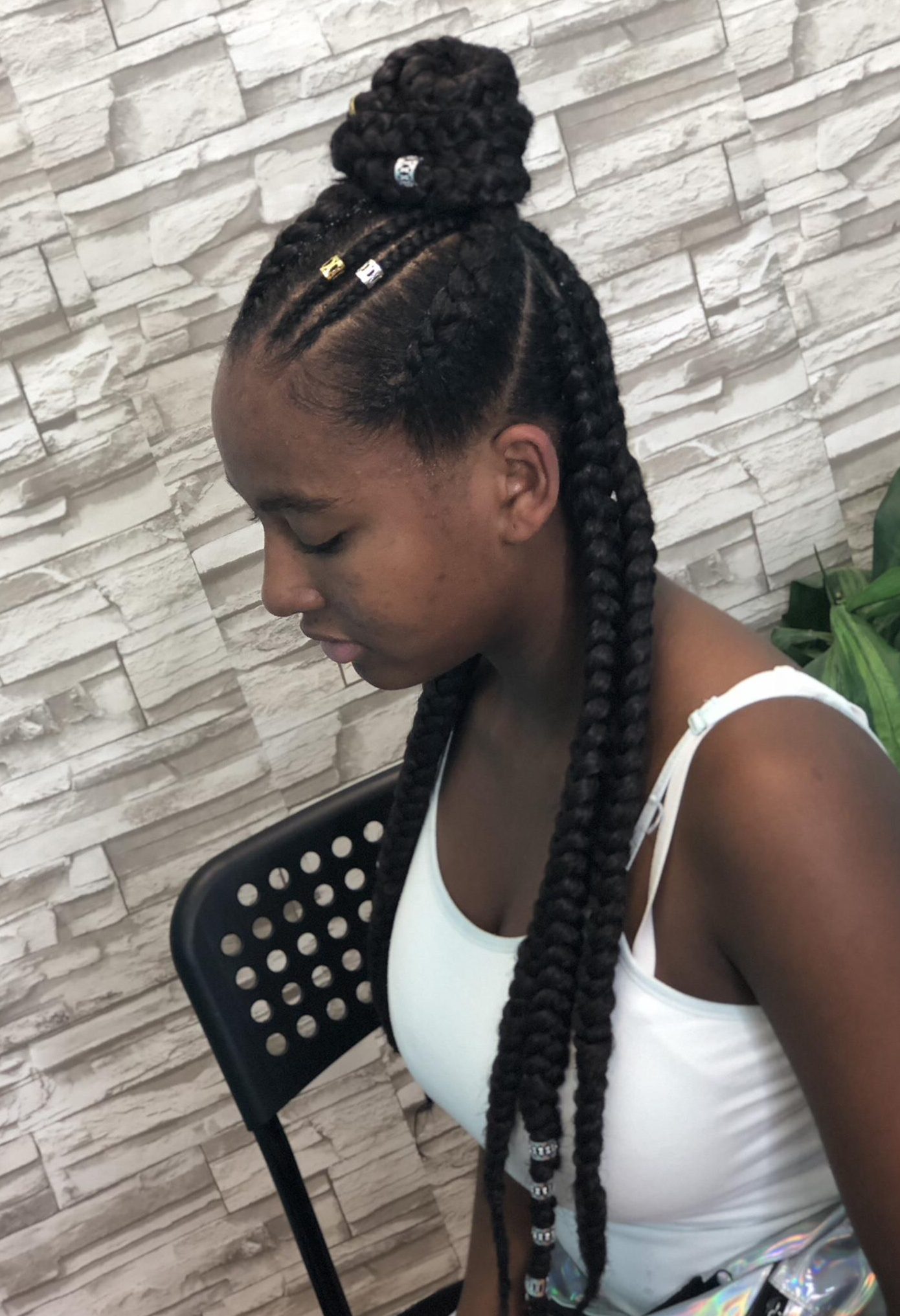 Famous Dookie Braid Hairstyles In Half Up Pony With Regard To Feed Ins (pony Or Not Straight Back) $90 Feedin Braids, Half (View 3 of 20)