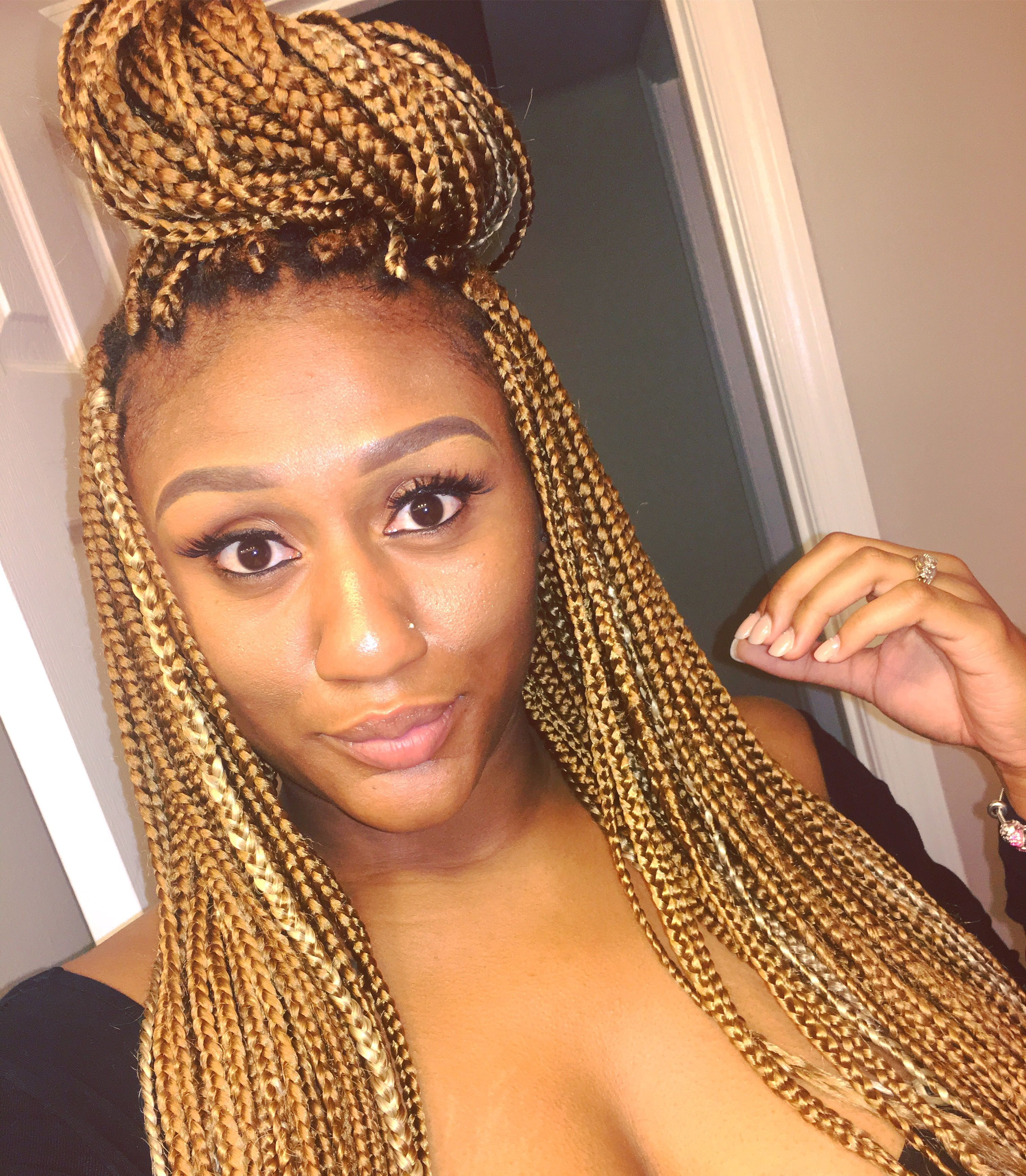 Famous Golden Blonde Tiny Braid Hairstyles With Honey Blonde Box Braids #protectivestyle #noheat #boxbraids (View 2 of 20)