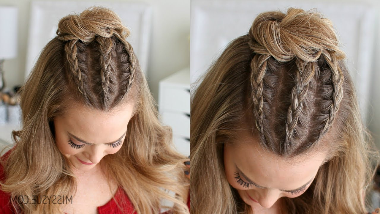 Famous Mini Buns Hairstyles With Half Up Triple Braid Mini Bun (Gallery 14 of 20)