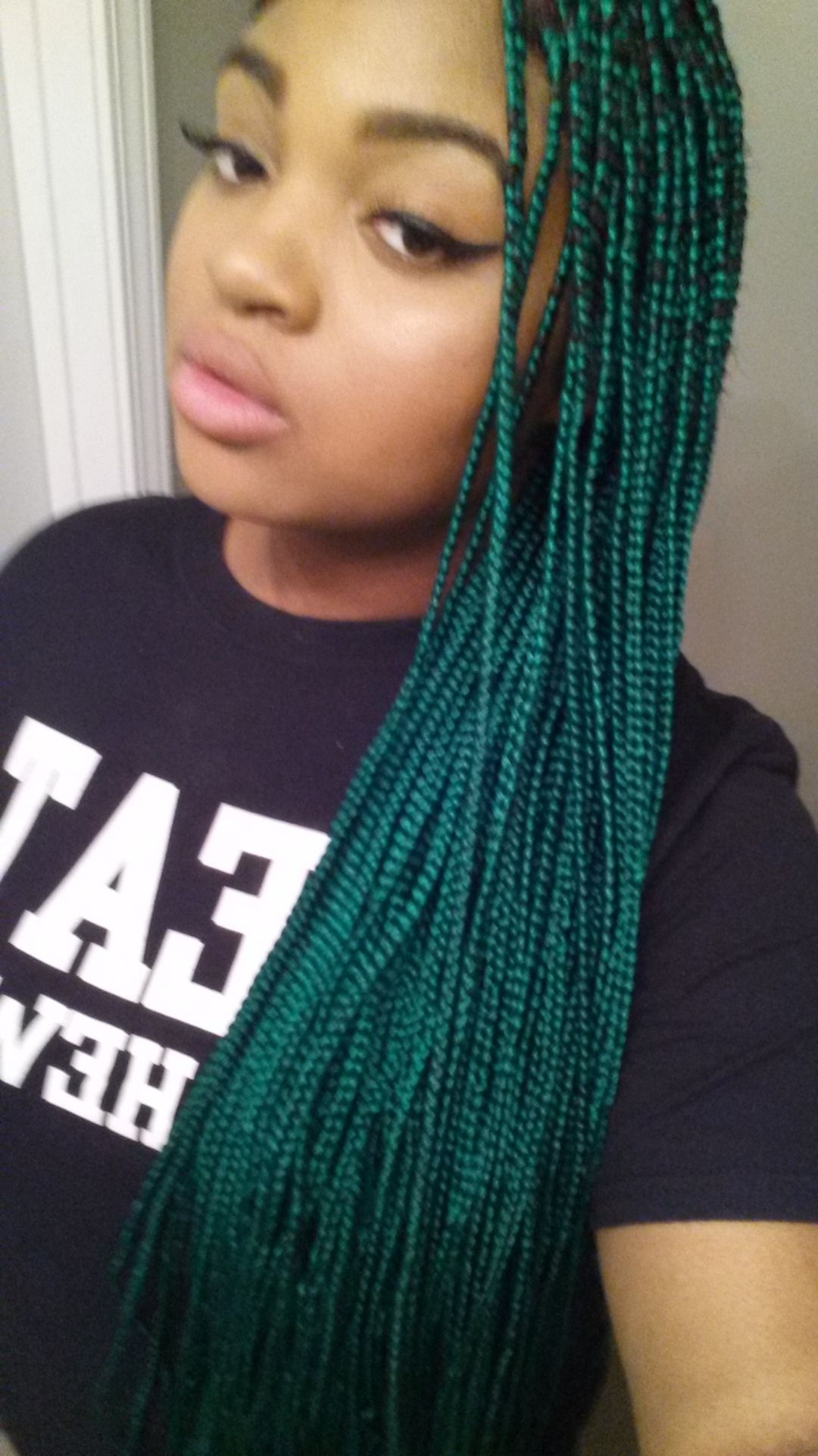 Famous Navy Bob Yarn Braid Hairstyles Within Green Box Braids (View 9 of 20)