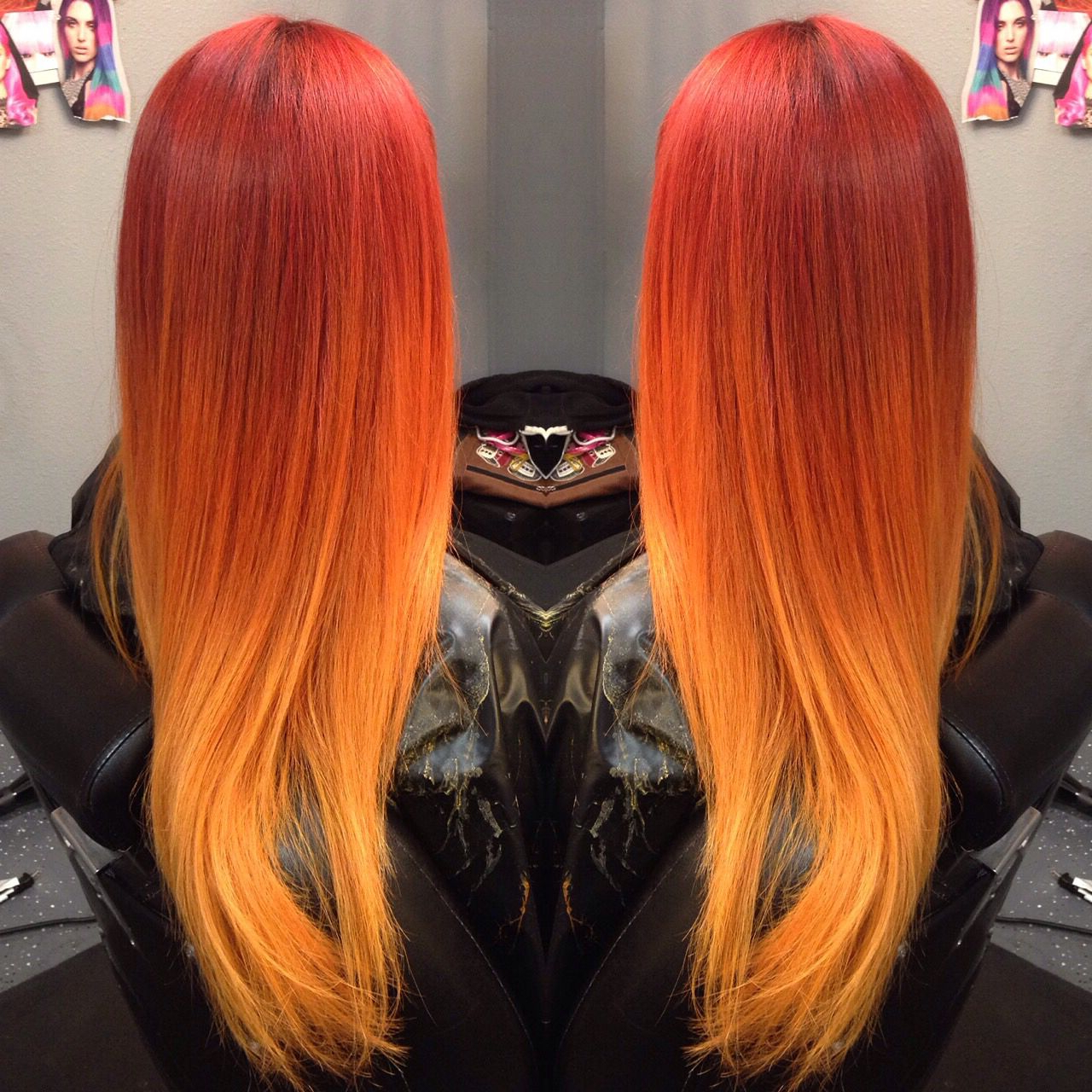 Famous Red And Yellow Highlights In Braid Hairstyles With Beautiful Fiery Red To Orange To Yellow Ombré Using Only (View 4 of 20)