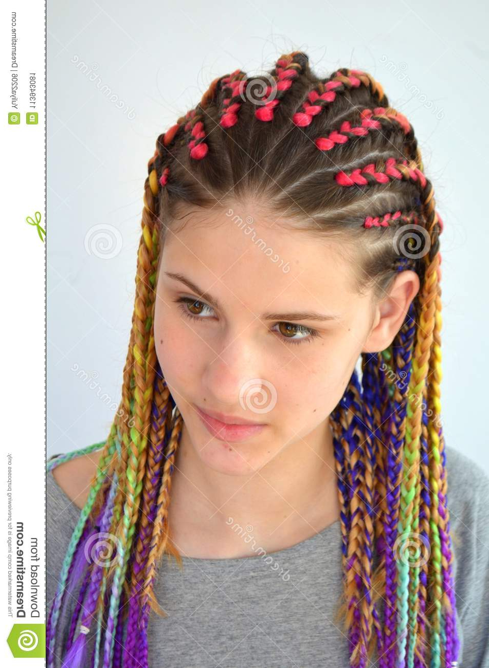Fashionable Colorful Cornrows Under Braid Hairstyles Throughout A Girl With A Fashionable Set Of Multicolored Braids (Gallery 17 of 20)