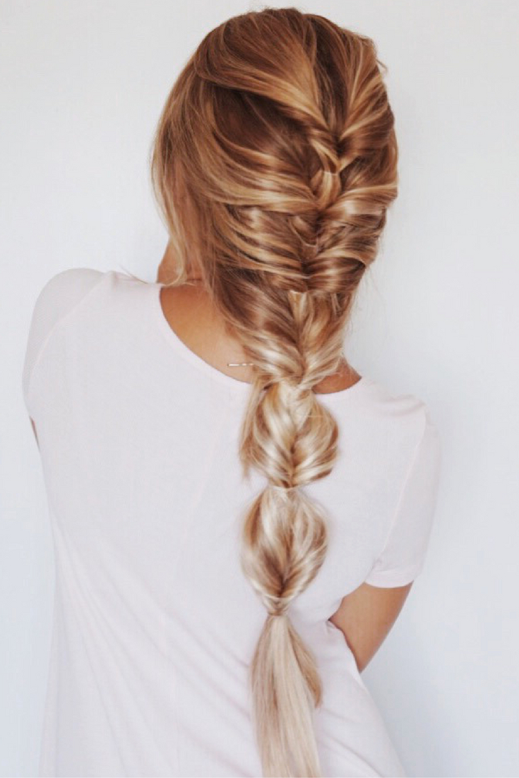 Fashionable Elegant Blonde Mermaid Braid Hairstyles For Faux Fishtail Braid, Blonde Ombre, Balayage, Highlights (View 10 of 20)